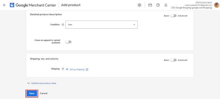 Add product in Google merchant 4