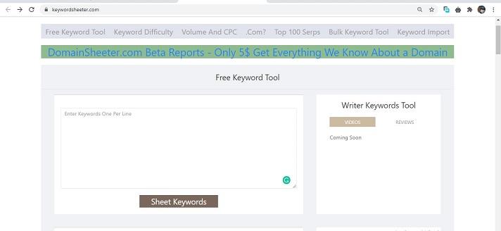 Keyword Sheeter