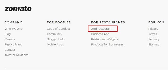 Add Your Restaurant in Zomato