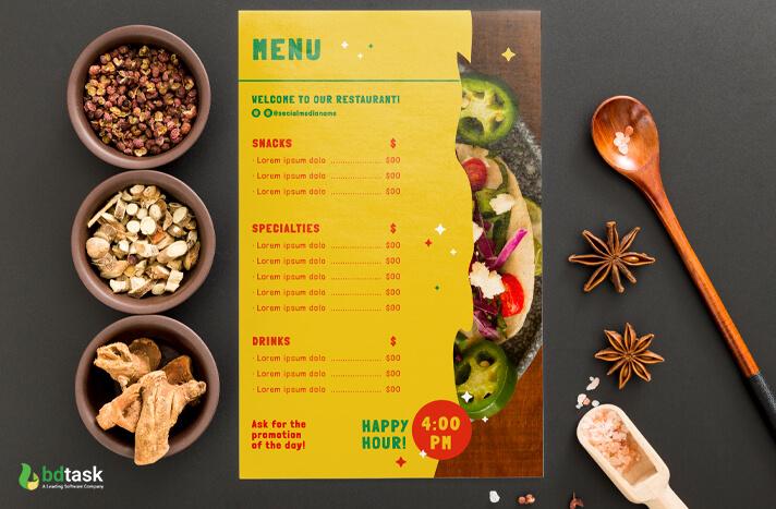 color setting of food menu card