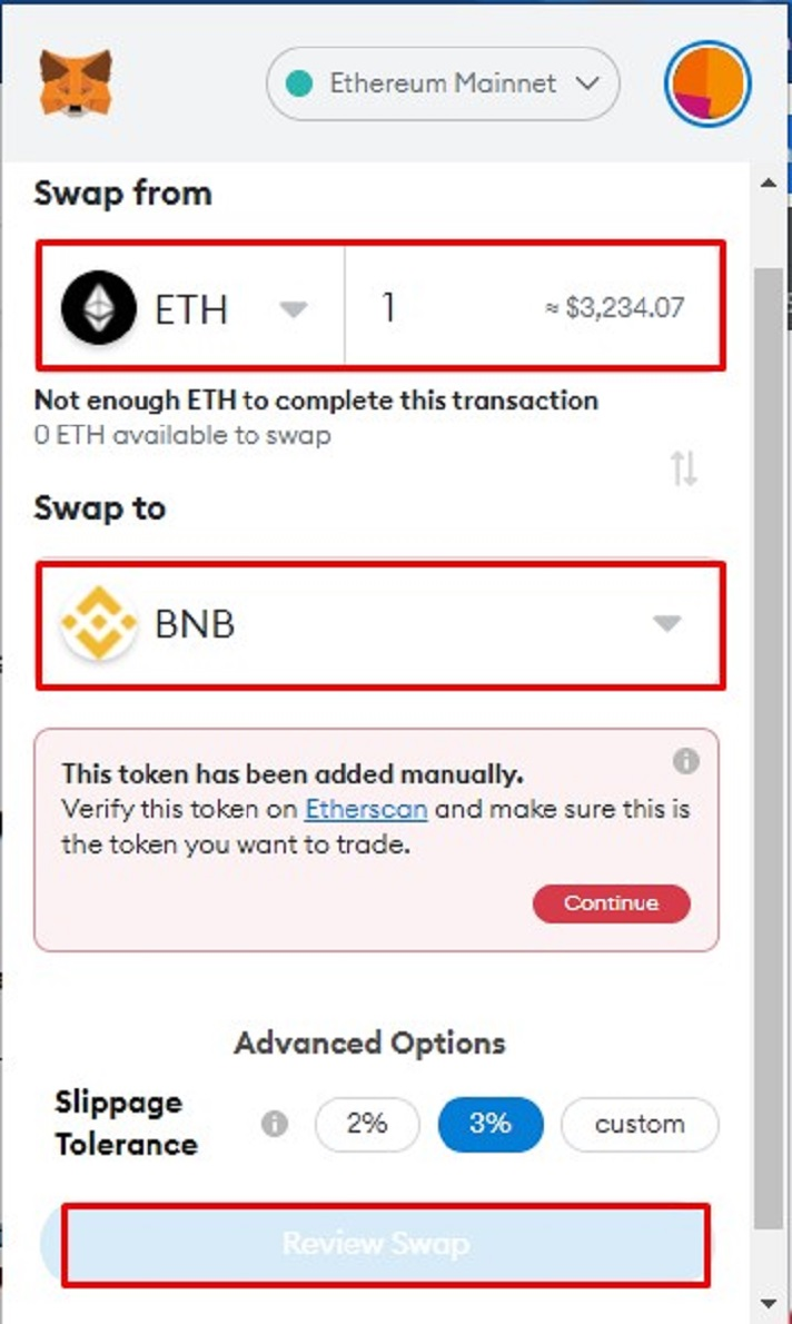 Swap Ether for ERC20 Tokens