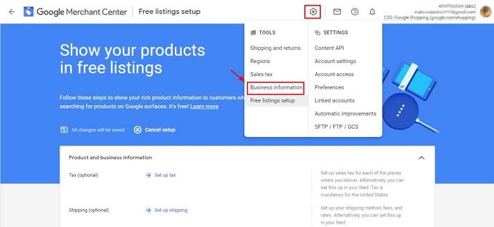 Google merchant account setup