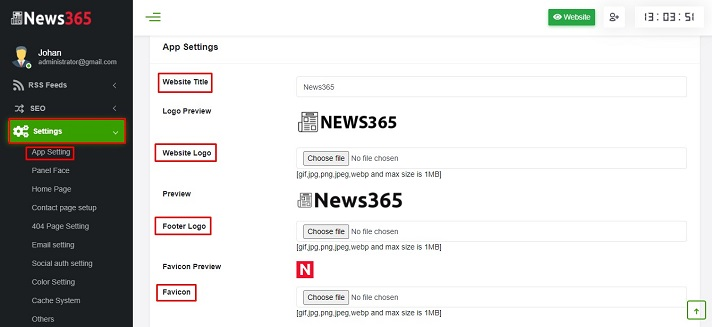 News365 Setting
