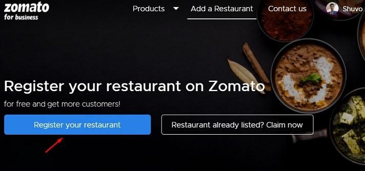 Register restaurant on zomato