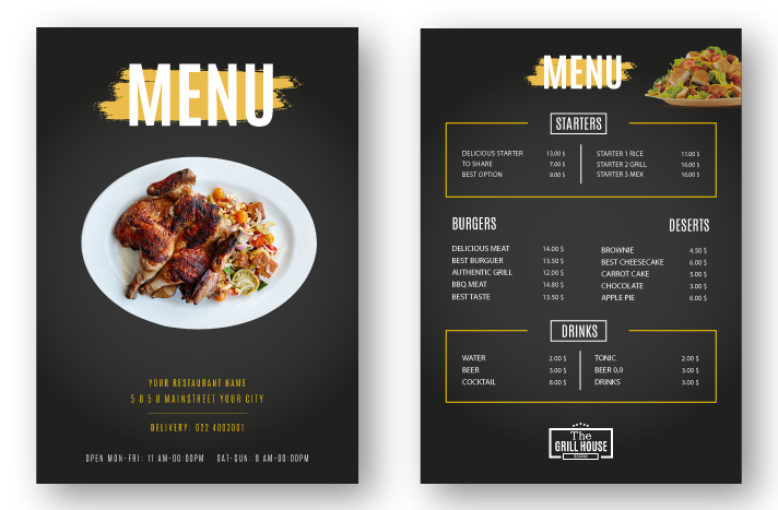Restaurant Menu Design Example 1
