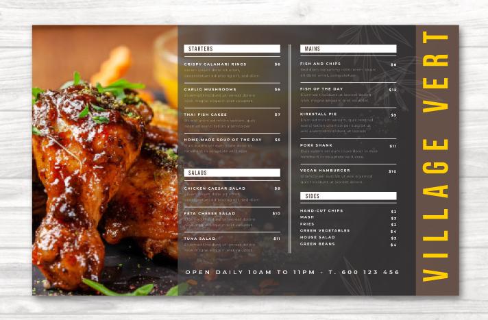 Restaurant Menu Design Example 2