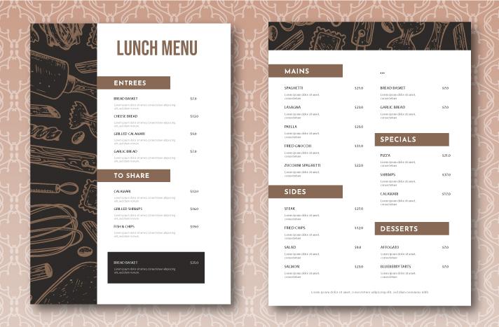 Restaurant Menu Design Example 5