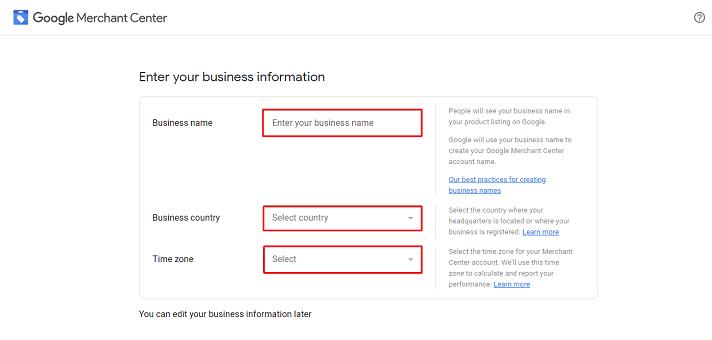 Google Merchant Sign Up 2